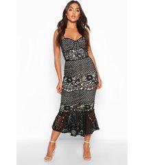 mesh floral cupped peplum midi dress, black
