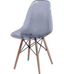 cadeira dkr policarbonato e base de madeira malawi – fumê