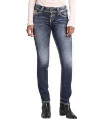 women's silver jeans co. suki straight leg jeans, size 24 x 34 - blue