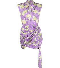 giuseppe di morabito short fitted floral lilac dress with draping