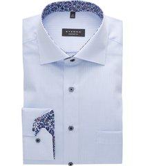 eterna overhemd lichtblauw geruit comfort fit