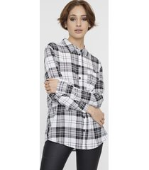 blusa manga larga oversize blanco check  corona