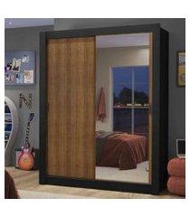 guarda-roupa solteiro madesa dallas 2 portas de correr com espelho 2 gavetas preto/rustic cor:preto/rustic