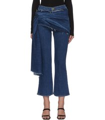 'draped julia' flared ankle crop jeans