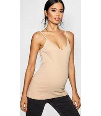 zwangerschap geribbeld hemdje met v-hals, nude