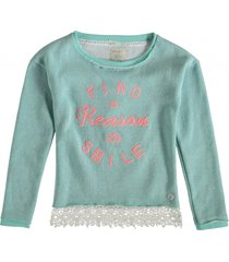 indian blue mintgroene sweater met zilverdraad