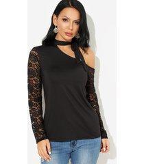 negro one atado al hombro diseño detalles de encaje camisetas de manga larga