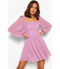 dobby mesh blouson sleeve co-ord top, mauve