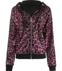 philipp plein paradise embellished animal-print hoodie - black