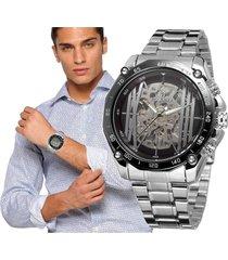 reloj automático forsining diseño skeleton hombre – plateado con negro