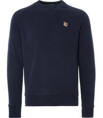 maison kitsune fox head patch sweatshirt | navy | 303km001-nvy