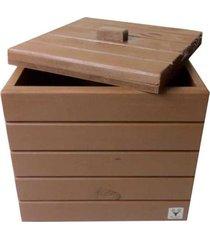 baú madeira vaso tampa alce couch marrom tabaco 38x40x40