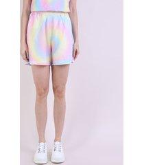 short de moletom feminino mindset cintura alta estampado tie dye multicor