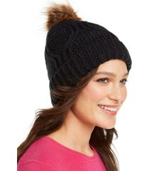 inc cable-shine beanie with faux-fur pom, created for macy's
