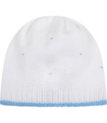 little bear white hat for babyboy with polka-dots
