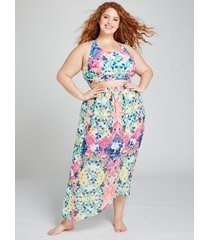 lane bryant women's faux-wrap cover-up skirt 14/16 patchwork
