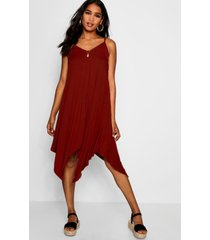 asymmetric hem strappy swing dress, brown