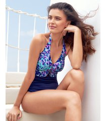 leisou underwire halter tummy control one-piece swimsuit d-g cup