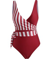 striped plunge high rise wrap one-piece swimsuit