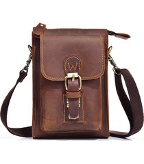 uomo vera pelle one-shoulder borsa vintage causal capable cintura indossare il crossbody borsa