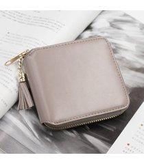 billetera mujeres- monedero pequeño cuadrado simple-gris