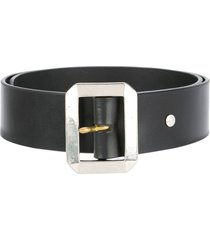 addict clothes japan rectangle buckle belt - black