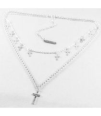 collar gris diesel doble cruces
