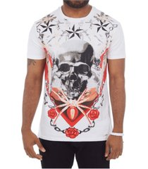 heads or tails 3d graphic printed skull and roses rhinestone studded t-shirt