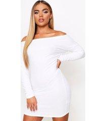 off the shoulder soft rib mini dress, cream