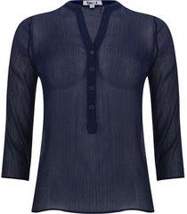 blusa manga 3/4 transparencia color azul, talla 12
