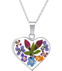 "heart shape dried flower pendant with 18"" chain in sterling silver"