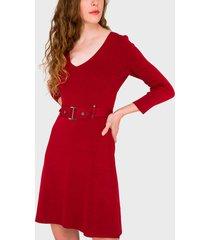 vestido io tejido rojo - calce ajustado