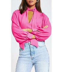 river island womens bright pink eyelet tie v neck blouse