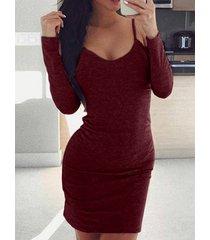 hombro frío manga larga mini vestido