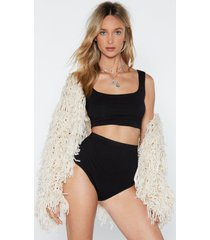 womens cropped bra top and matching panty shorts set - black