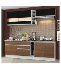 cozinha completa madesa parma com armário e balcão (sem tampo e pia) branco/rustic/preto branco/rustic/preto