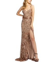 mac duggal sequinned & beaded embellished gown
