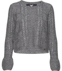 bell sleeve mohair cable knit gebreide trui grijs superdry