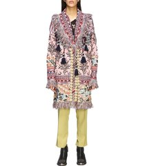 etro sweater long etro cardigan in jacquard knit with fringes and tassels