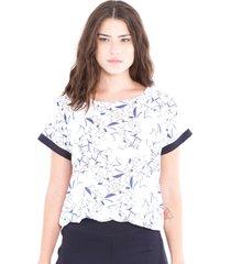 blusa adriana candido manga curta em malha estampada branco