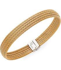 18k gold & stainless steel multi-row bracelet