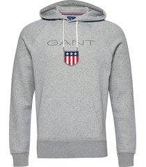 gant shield hoodie hoodie trui grijs gant