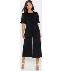 maternity tie waist ruffle culotte jumpsuit, black