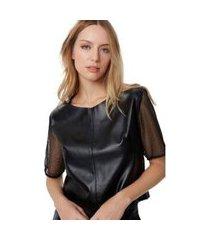 blusa t-shirt recortes tela preto - 34
