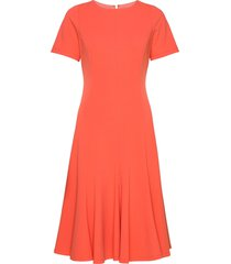 cap sleeve flare hem dress knälång klänning orange calvin klein