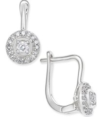 diamond circle leverback earrings (1/5 ct. t.w.) in 14k white gold