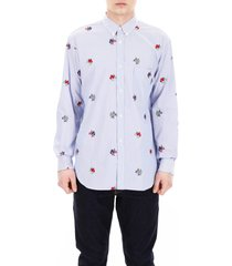 comme des garçons shirt shirt with embroidered flowers