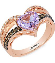 chocolatier® 14k strawberry gold®, cotton candy amethyst®, chocolate diamond® & vanilla diamond® ring