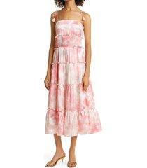 women's haute hippie tie dye tiered silk satin dress, size 8 - pink