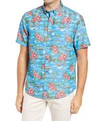 men's johnston & murphy silky short sleeve button-down shirt, size xx-large - blue